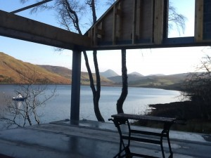 Slide-away glazing will open onto views of the Cuillen mountains across Loch Harport.